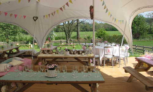 Marquee with picnic tables Yorkshire