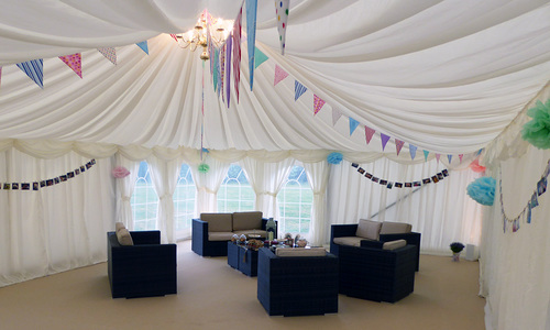 Sofa area in marquee