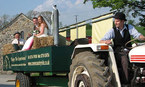 Wedding tractor ride